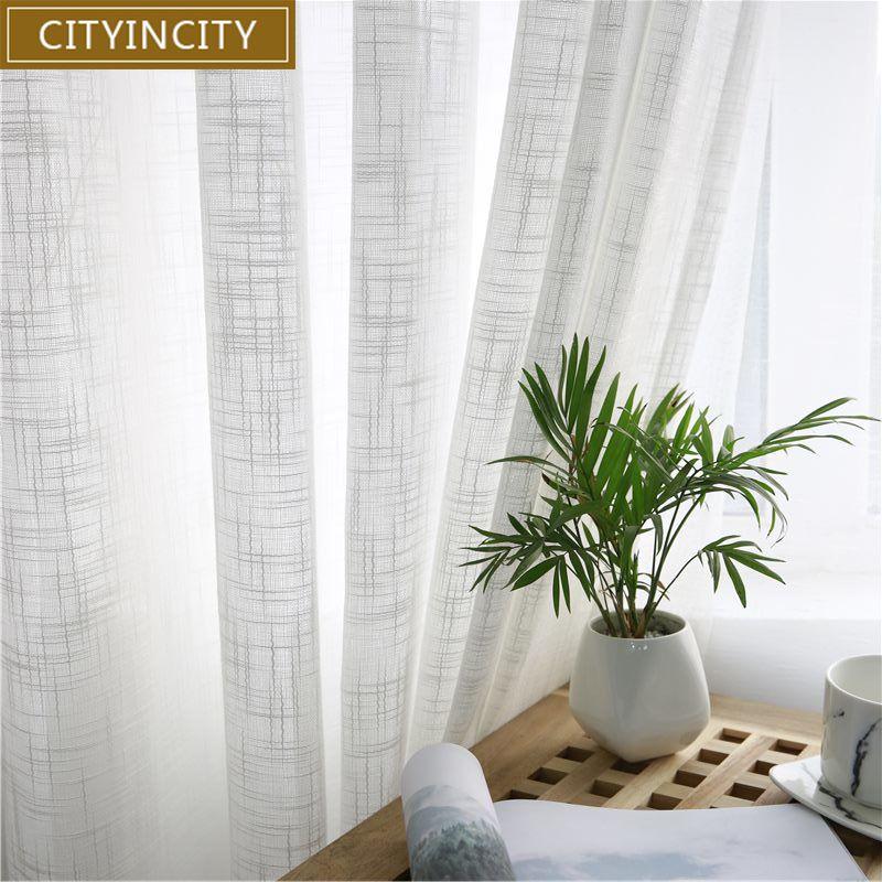 CITYINCITY Tulle rideaux américains pour salon doux Voile blanc solide Rural Tulle rideau pour chambre prêt à l'emploi rideau