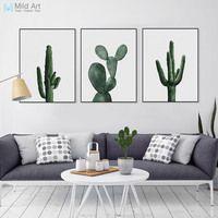 Nórdico acuarela verde Cactus planta cartel impresión Hipster Floral pared arte imagen moderna casa Deco lienzo pintura regalo personalizado