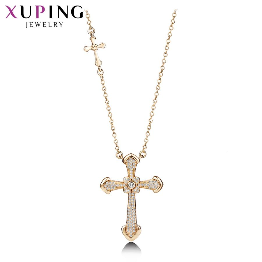 11.11 Xuping New Arrival Elegant Gold Color Plated Cross Pattern Necklace Pendant for Women Boxing Day Jewelry Gift M54-40086