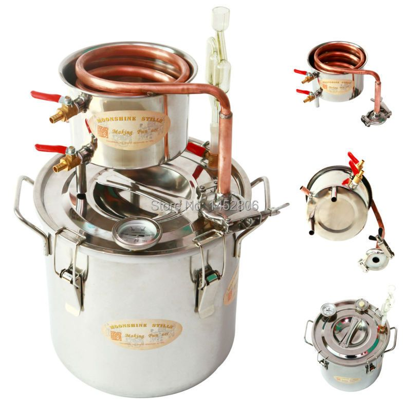 DIY Home 3 Gal / 12 Litres Alcohol Whisky Water Cooper Distiller Cooler Moonshine Still Stainless Boiler Keg Spirits Brew Kit