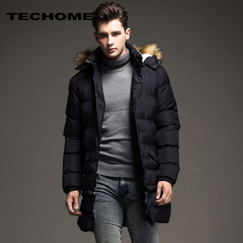 2017 Winter Thick Warm Cotton Male Jacket Men Parka Hooded Casual Wadded Outerwear Fashion Faux Fur Hood Padded Quilted Coat