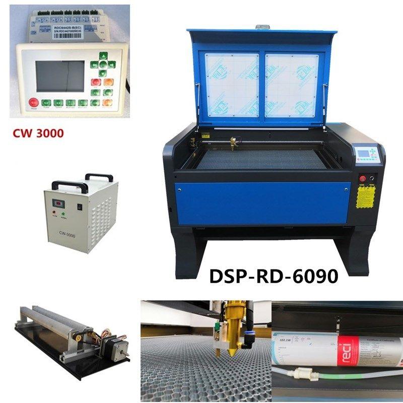 Kostenloser versand reci 100 W 6090 Co2 USB Autofokus Laser Schneiden Maschine Mit DSP System Laser Cutter Engraver Chiller 900 x 600mm