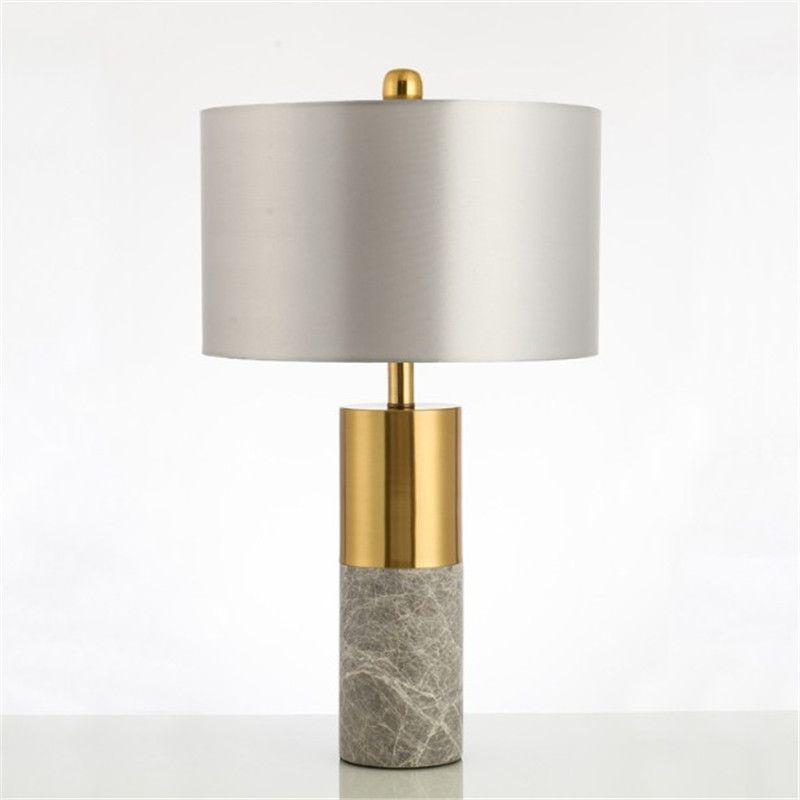 Modern Luxury Light Designer Marble Table Lamp Living Room Bedroom Bedside Fabric Lampshade Home Lighting Fixtrues E27 110-220V