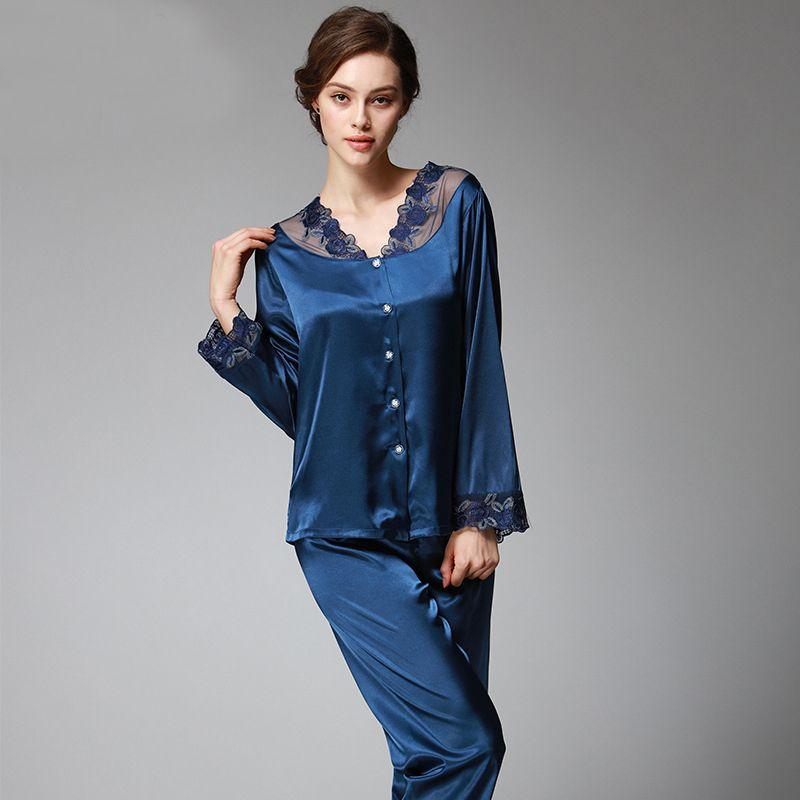 SSH037 Printemps Automne Femmes Satin Soie Pyjama Ensemble Sleepcoat Pantalon de Nuit De Haute Qualité Dame Chemise Femme vêtements de nuit sexy Pyjama