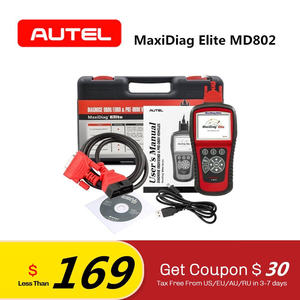 Autel MaxiDiag Elite MD802 All System EOBD Diagnostic Tool OBD2 Engine ABS Transmission Airbag Automotive Scanner Code Reader
