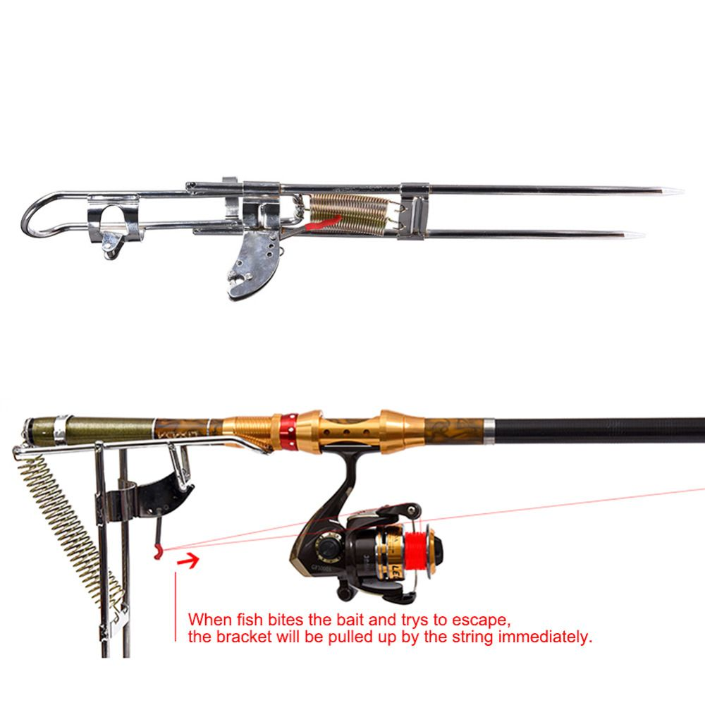 Automatic Double Spring Angle Fish Pole Tackle Bracket Fishing Bracket Rod Holder Anti-Rust Steel Tools Fishing Rods Accessories