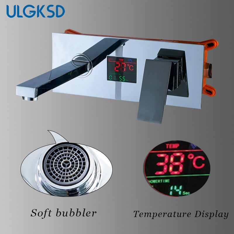 Basin Faucet Long Nose Spout single handle Temperature Display Wall Chrome Finish para bathroom mixer tap