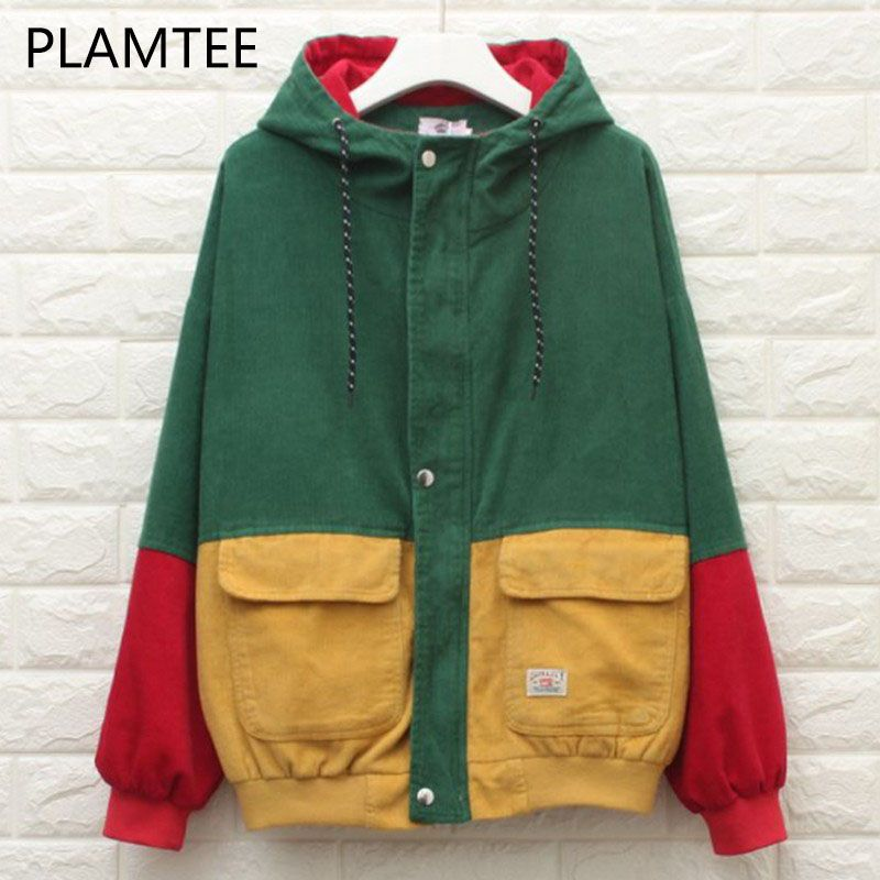 PLAMTEE Fashion BF Bomber Jacket Oversized Patchwork Pockets Autumn Hooded Coat Contrast Color Zipper Casacos Preppy Chaqueta
