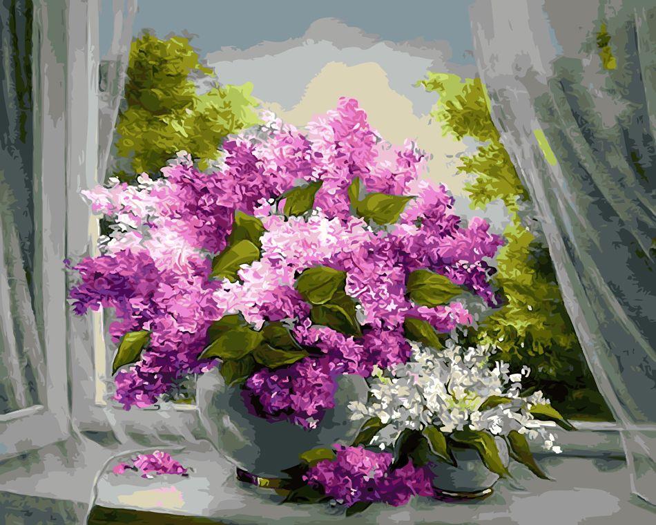 Sans cadre fenêtre fleur peinture à la main par numéros Kits coloriage peinture par numéros Unique cadeau pour salon décor à la maison 40x50 cm