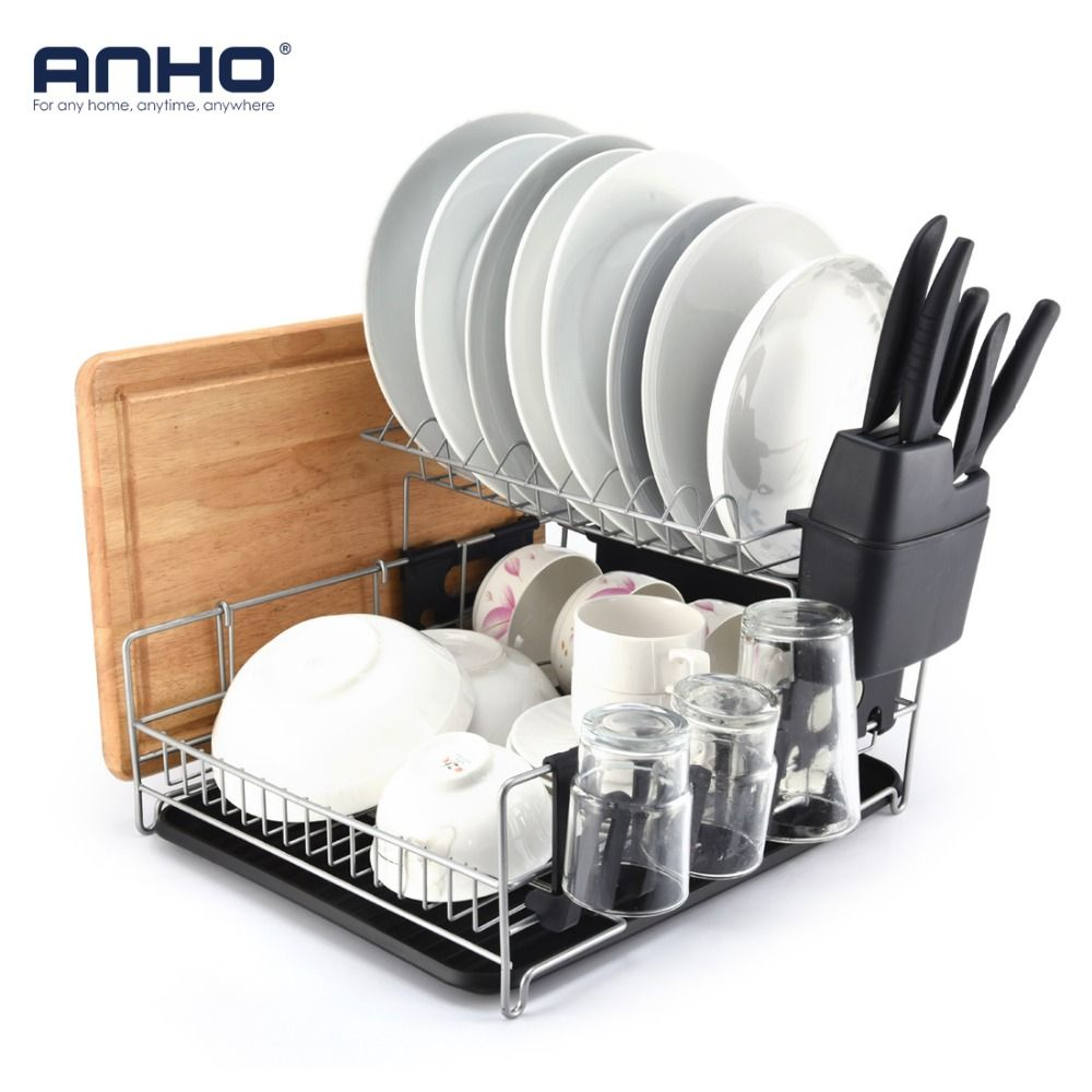ANHO Kitchen Dish Rack 2 Tier Black Dish Drainer Drying Rack Counter Top Organizer For Bowls Plates knives Large Capacity Holder