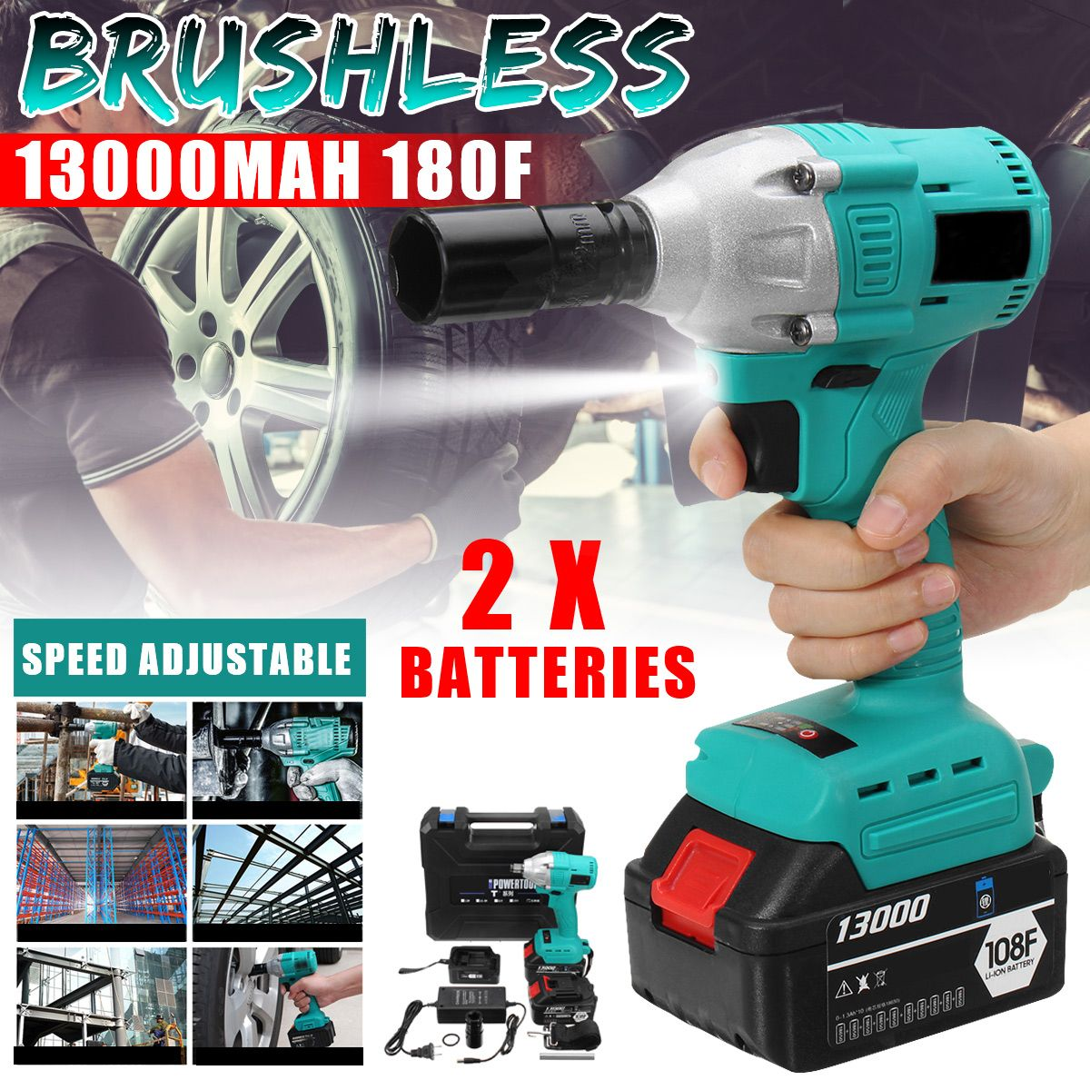 Brushless Electric Shock Cordless Impact Wrench 340 N.M Cordless DIY Household Electric Wrench w/2Pcs 108F 13000mAh Batteries