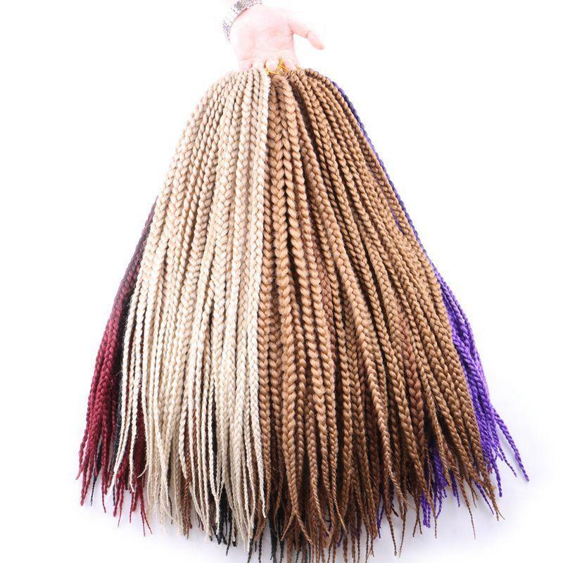 Luxe pour tressage cheveux synthétiques Ombre bordeaux brun blond 24