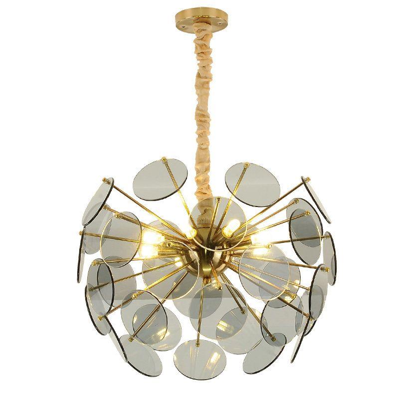 Modern led pendant lights glass variety luxury Dia.52cm led hanging light amber color Novelty Bar Restaurant light G9 LED lamp