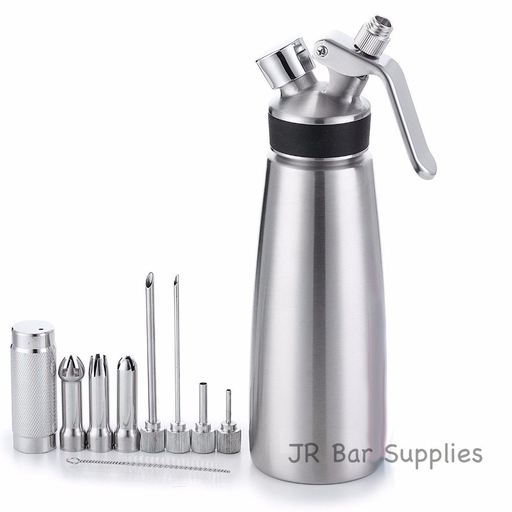 Free Shipping Whipped Cream Dispenser 100% Stainless Steel - Professional Whipper - 1 Pint (500ml) Large - Gourmet Set