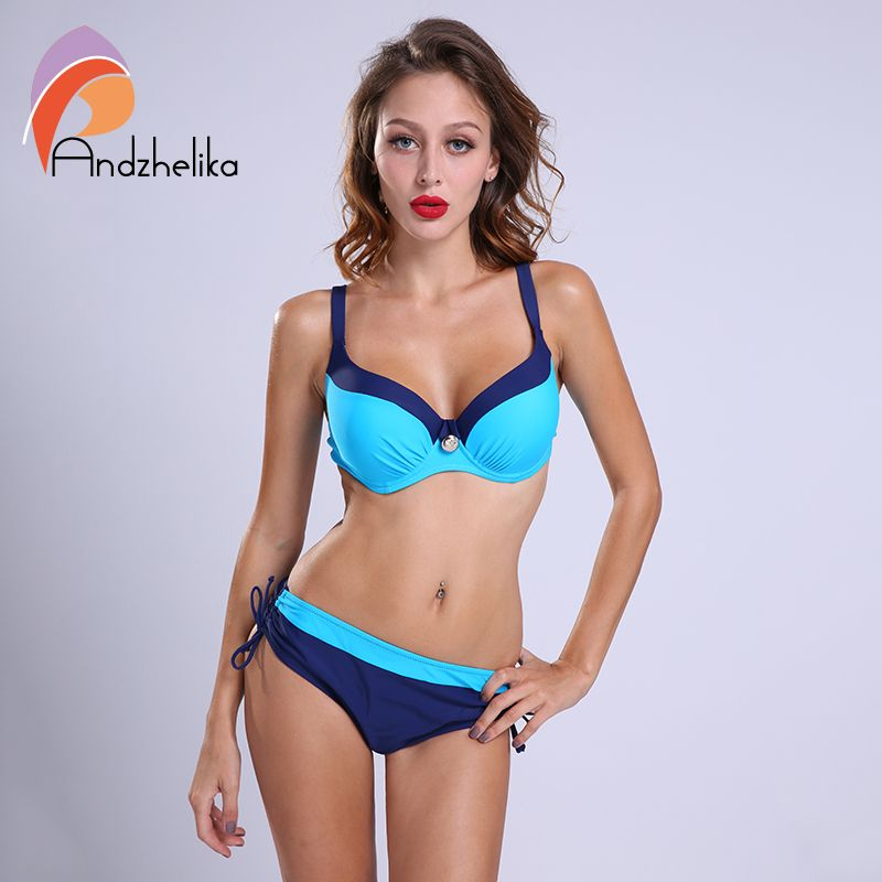 Andzhelika 2018 bikinis Women Swimwear Sexy Bikini Set Large Cup Push Up Swimsuit Solid Patchwork Maillot de bain Biquini AK1605