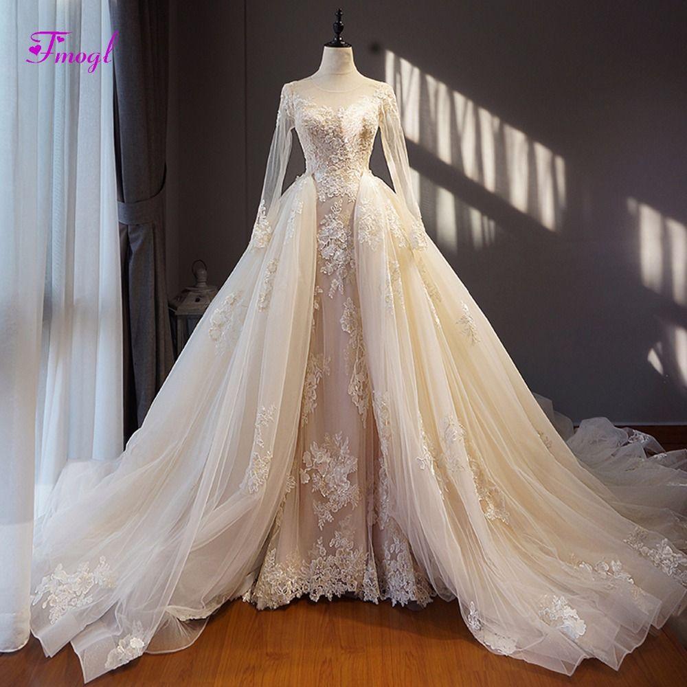 Fmogl Fashion Scoop Neck Lace Up Detachable Train Wedding Dress 2018 Appliques Long Sleeve Vintage Wedding Gown Vestido de Noiva