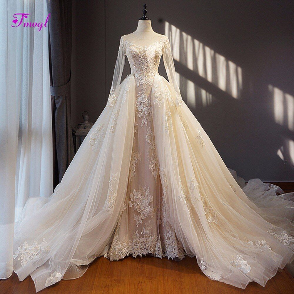 Fmogl Fashion Scoop Neck Lace Up Detachable Train Wedding Dress 2018 Appliques Long Sleeve Vintage Wedding Gown Vestido de Noiva