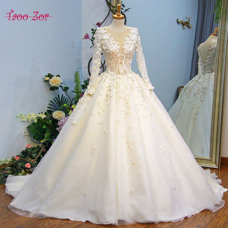 TaooZor Vintage Wedding Dresses A-Line Lace Flowers Full Sleeve Pearls Buttons Back Court Train Vestido De Noiva Real Photos