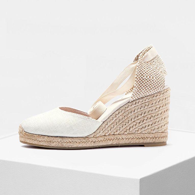 Chaussures femmes doux à la cheville 9 cm chaussures à bout fermé compensé Espadrilles classiques talon en couleur blanc et noir