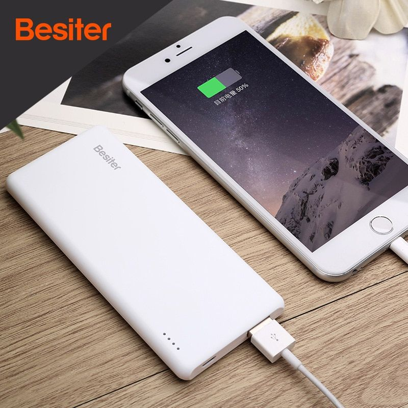 Besiter 5000mah Ultra Thin Portable External Battery Charger for Smart Phones Universal Power Bank Super Slim Charging Charger