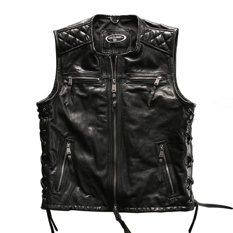 Big European size vest For super Motor rider Mens high quality cow leather vest genuine cowhide leather motorcycle rider vest