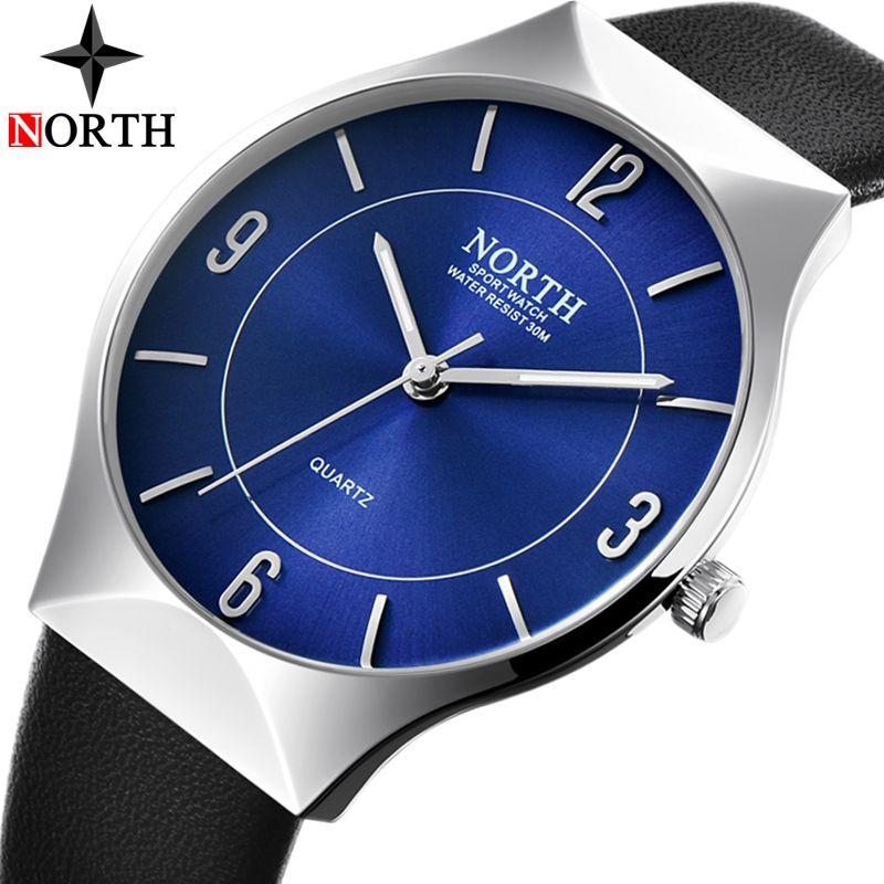 North Mens Watches Top Brand Luxury Waterproof Ultra Thin Clock Male Leather Fashion Casual Quartz Watch Men Sports Wrist Watch