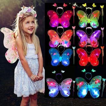 SYMA zaubertricks 3 teile/satz Mädchen Led Blinklicht Fee Schmetterling Flügel Stab-stirnband Kostüm Spielzeug kind magie apr5HY