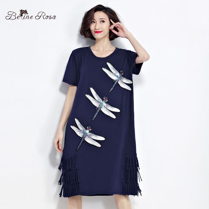 BelineRosa 2017 Women's T-Shirt Dresses Summer Fashion Sequin Dragonfly Tassel Shirt Dress Women Female Fit L ~ 3XL TYW0221