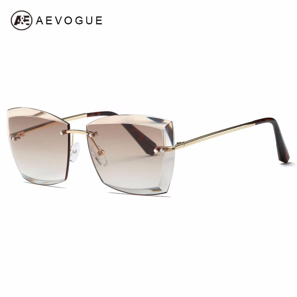 Lunettes de soleil aevogue Pour Femmes Carré Sans Monture coupe du diamant Lentille Marque Fashion Designer Shades lunettes de soleil AE0528