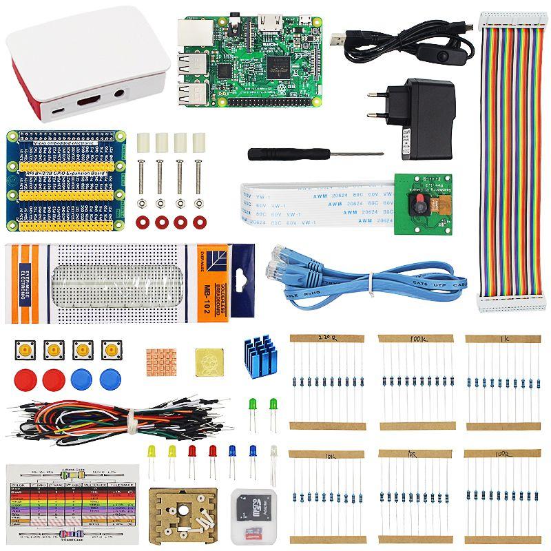 Raspberry Pi 3 Model B Starter Kit Raspberry Pi 3 + 16G SD Card +ABS Case + Power Adapter + 5MP Webcam Camera with Retail Box