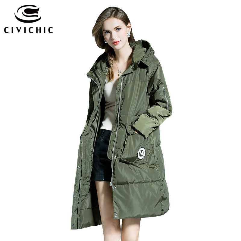 CIVICHIC Hot Sale Woman Winter Thicken Parka Soft Hooded Down Jacket Mid Long Warm Coat Pocket Patch Eiderdown Outer Wear DC567