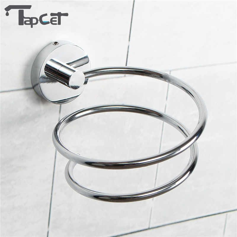 TAPCET Chrome Finish Wall Mounted Hair Dryer Stand Hotel Bathroom Shelves Shelf Storage Hairdryer Rack Holder Hanger