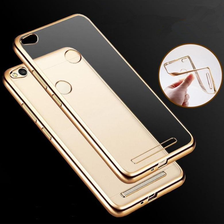 for Xiaomi Redmi 3 Slim Crystal Soft Silicone Plating Clear Gilded Frame TPU Case Ultra Thin Transparent Rubber Back Cover