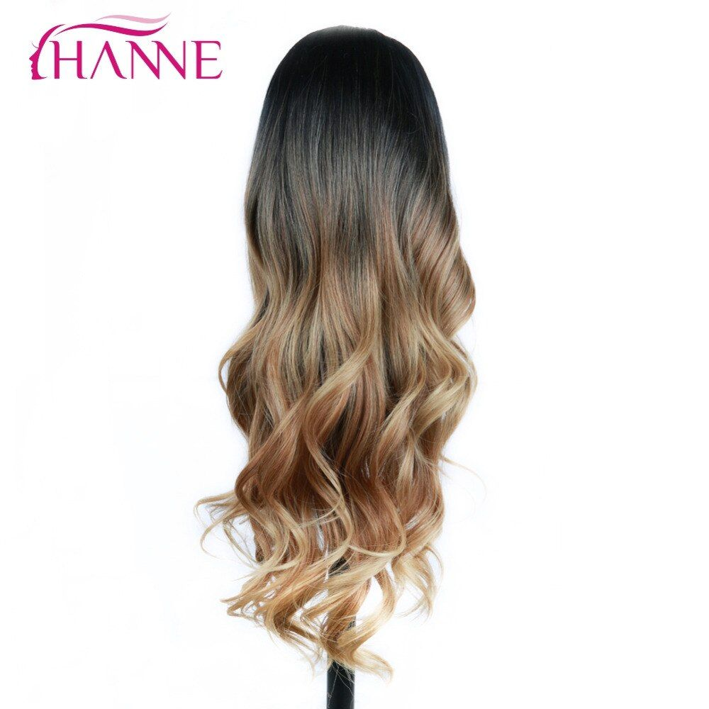 HANNE Black Brown Blonde 26 inch Long Wavy Wig Heat Resistant Synthetic Ombre Hair Wigs Available For Women Natural Daily Wear
