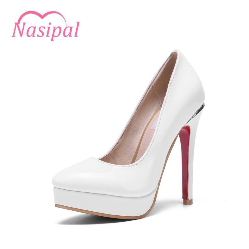 Nasipal Otoño Women Shoes Bombas Moda Mujer Patente Punta estrecha Tacones Súper Altos Bombas de Talón de la Plataforma Grande Size30-48 C039