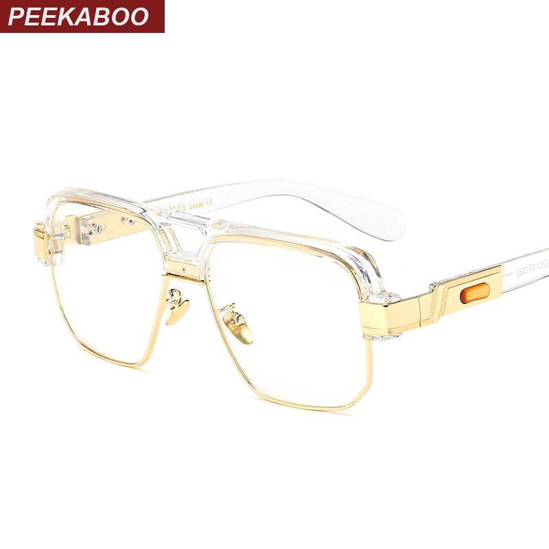 Peekaboo matte black square big frame clear glasses semi rimless women men optical frames eyeglasses transparent 2017