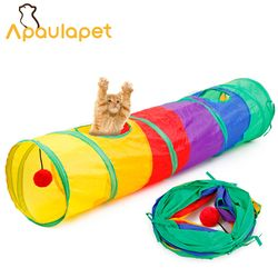 APAULAPET جديد مضحك القط نفق لعبة الحيوانات الأليفة خيمة لعبة طوي 2 ثقوب الملونة القط نفق مع الكرة هريرة القط لعبة القط لوازم