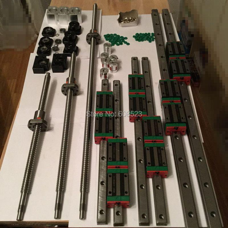 12 HBH20CA Carré Linéaire guide ensembles + 3 x SFU605-400/700/1000mm vis à billes ensembles + BK BF12 + 3 jaw Accouplement Flexible Plum coupleur