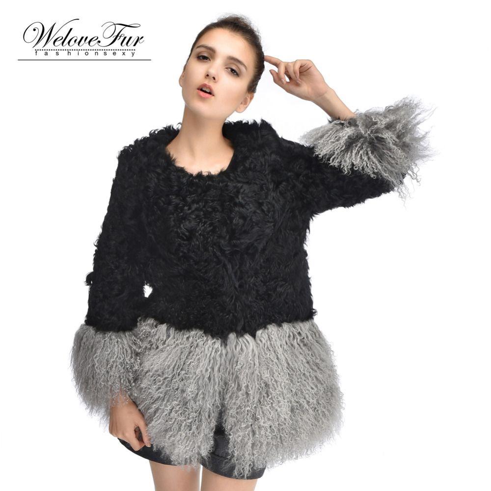 Neue Echt Lamm Pelz Mäntel Frauen Strand Wolle Pelz Oberbekleidung Schafe Pelz Jacken Für Frauen Winter Warm Heißer Verkauf Pelz mäntel