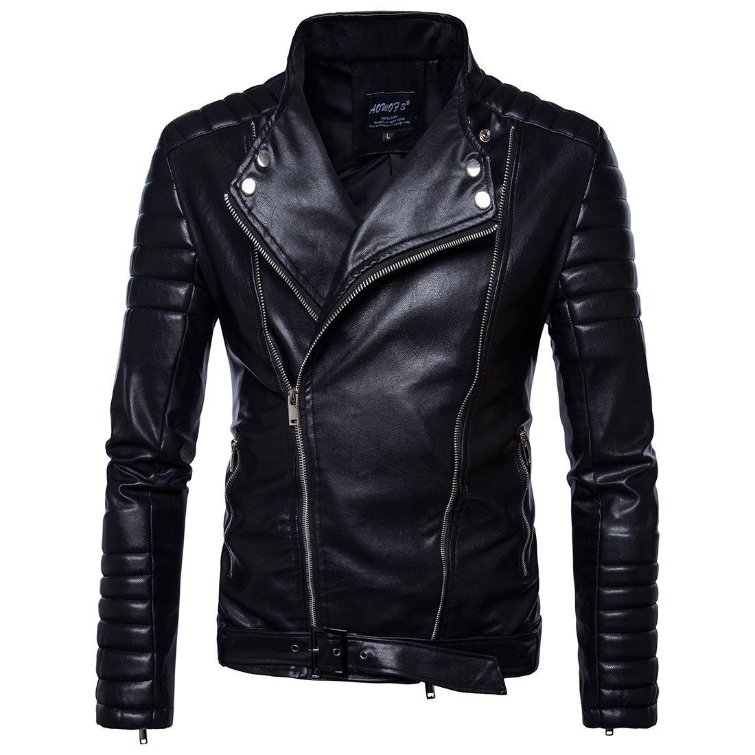 Vintage Jackets Mens Classic Retro Jacket Turn Down Collar Slim Faux Leather Biker Jacket Motorcycle Clothing