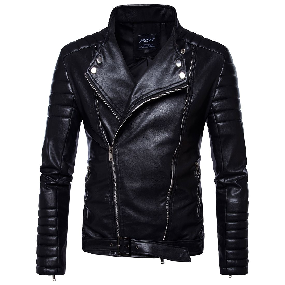 Vintage Jackets Mens Classic Retro Jacket Turn Down Collar Slim Faux Leather Biker Jacket Motorcycle Clothing