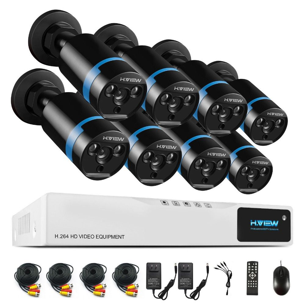 H.View 1080P Video Surveillance System 8CH CCTV Security Kit 8PCS 1080P Security Camera Super Night Vision 8 CH 1080N CCTV DVR