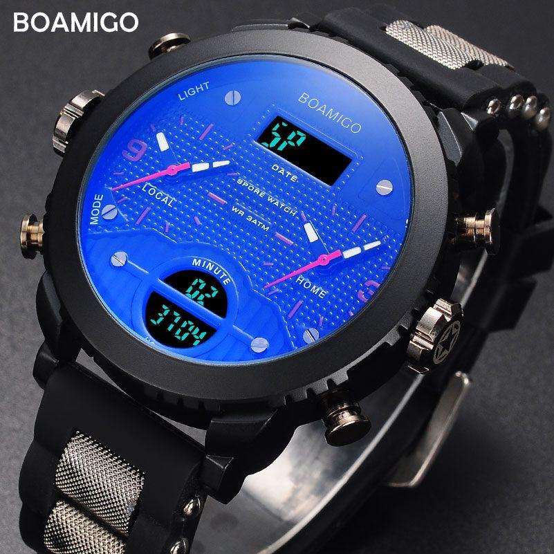 Herrenuhren Militär Sportuhr BOAMIGO Marke 3 Zeitzone Uhren für Männer Armbanduhr 2017 Geschenk Uhr Mit Box Reloj Hombre