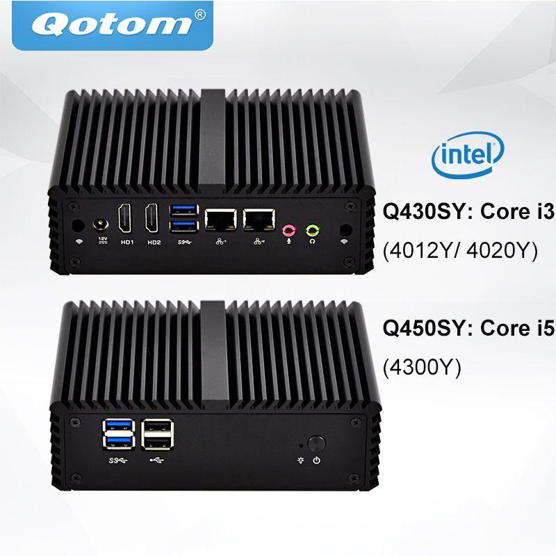 QOTOM Core i3 i5 Mini Desktop-Computer 2 Gigabit LAN 2 HD Typ Ports Fanless Laufende 24/7 POS Ternimal Kompakte mini PC X86