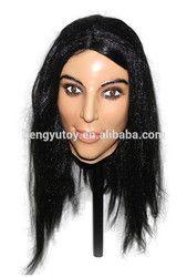 Terbaik Populer Mewah Gaun Kostum LaTeX Crossdressing Kecantikan Wanita Masker untuk Pria
