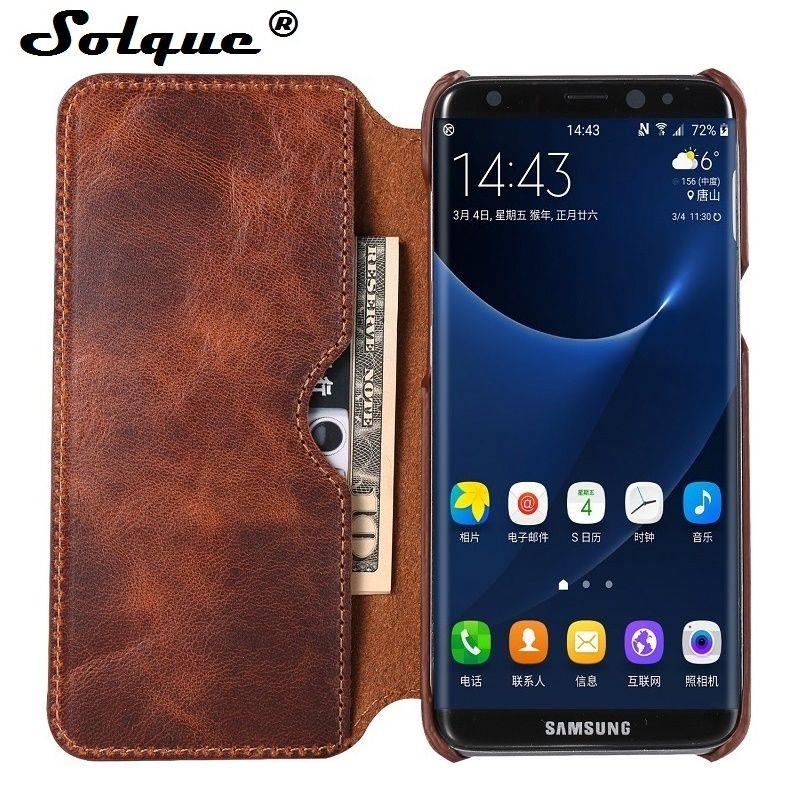 Solque Réel Véritable Housse En Cuir flip Pour Samsung Galaxy S8 Plus S 8 Cellulaire Téléphone De Luxe Rétro Vintage En Cuir Portefeuille cas de couverture