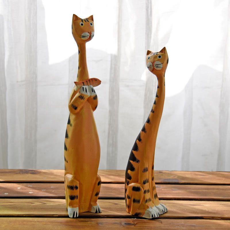 2 pcs/ensemble Creative Nordique Chat En Bois Articles D'ameublement Décoration de La Maison Sculpture Sur Bois Chat Cadeau Peinture Artisanat Décor Miniatures