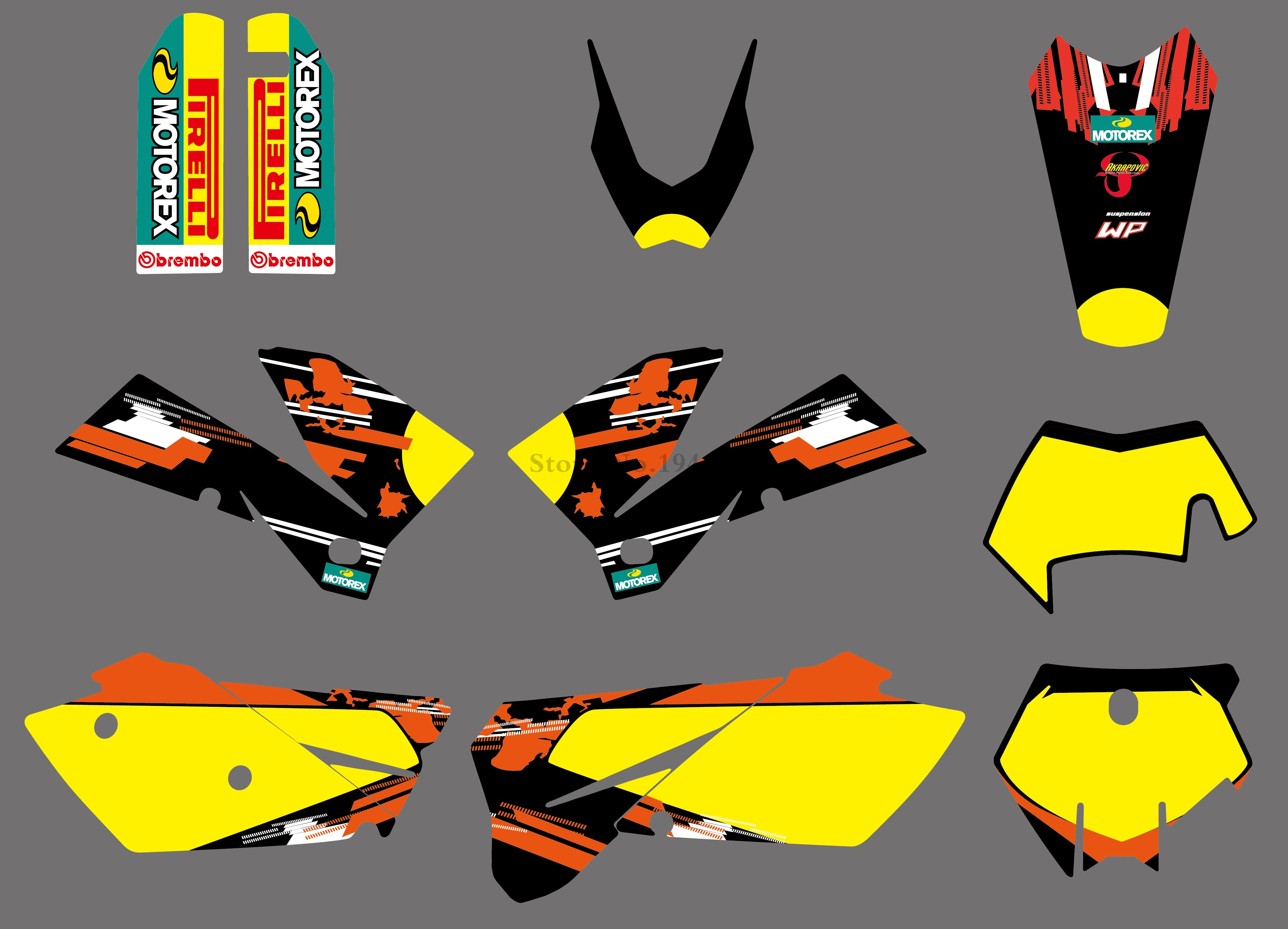 H2CNC 2 styles Team Graphics Stickers Decals Kit For KTM 125 200 250 300 400 450 525 540 SX XC EXC MXC XCF XCW 2005-2007