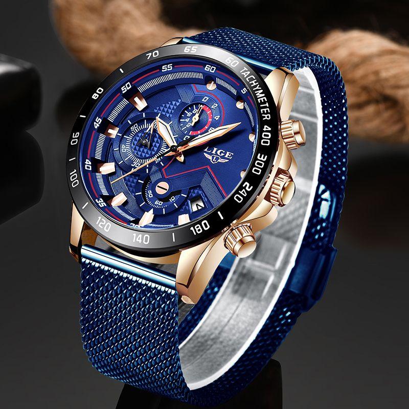 LIGE hommes montres Top marque de luxe mode montre-bracelet Quartz horloge bleu montre hommes étanche Sport Wris tWatch Relogio Masculino