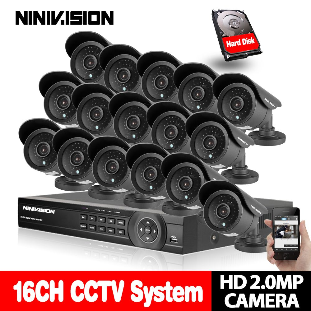 NINIVISION 16CH CCTV System 1080P DVR Kit AHD CCTV Video Recorder 1920*1080 2.0MP Surveillance Security Camera set with 4TB HDD